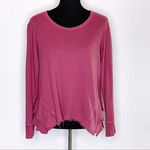 Left of Center rose pink tiered distressed knit top M